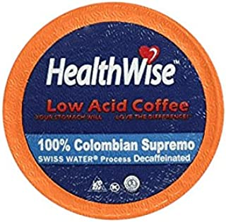 HealthWise Low Acid Swiss Water Decaffeinated Coffee for Keurig K-Cup Brewers, 100% Colombian Decaf Supremo, 12 Count
