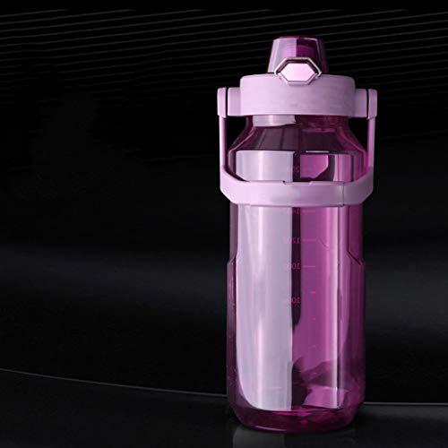 Xiaodou Outdoor Sportflasche aus Sport Cup Fitness Kunststoff Kessel Gerade Cup großer Kapazitäts-Sport Cup bewegliche im Freien Kessel Anti-Sturz-Cup 2000ml Versiegelt Auslaufsicher Wasserflasche