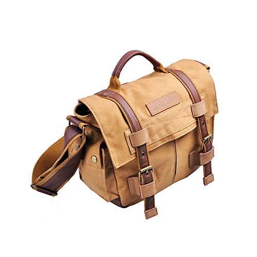 Schulter-Rucksack-Segeltuch-wasserdichter Kamera-Beutel for Männer beweglicher im Freien Tasche (Color : Kahki, Size : S)