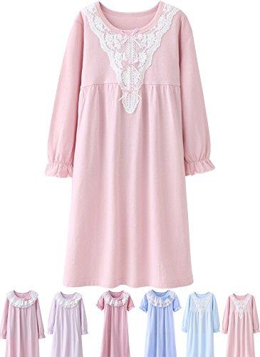 Abalacoco Girls Kids Princess Lace Nightgown Long Sleeve Cotton Sleepwear Pretty Dress (16-Adult, V/Pink)