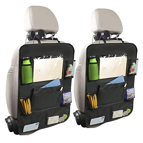 Bolsa de almacenamiento de asiento trasero de coche 2pcs, Organizador de asiento trasero impermeable Oxford 600D, Protector de asiento trasero, Alfombrillas de protección de asiento de coche