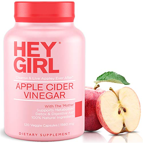 Apple Cider Vinegar Capsules - Great for Detox , Cleanse + Natural Weight Loss | Reduces Bloating and Aids Digestion to Keep Your Gut Happy by Hey Girl Nutrition