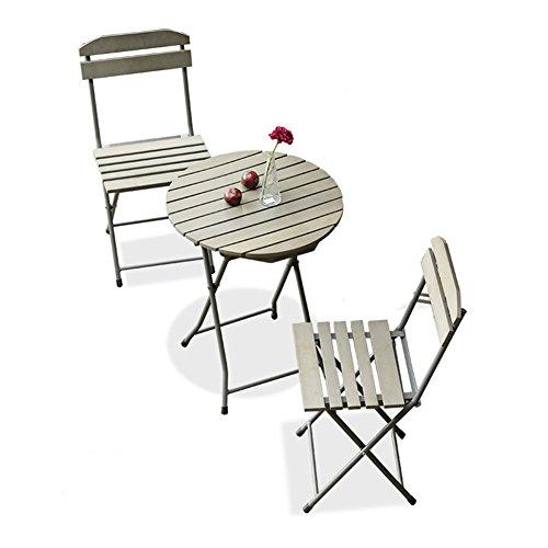 CSQ Balcón Mesa y silla Combinación Jardín Patio Hierro forjado Plegable Silla...