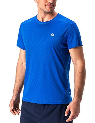 NAVISKIN Herren Kurzarm Laufshirt atmungsaktiv Funktionsshirt Ultraleicht T-Shirt Blau Größe L