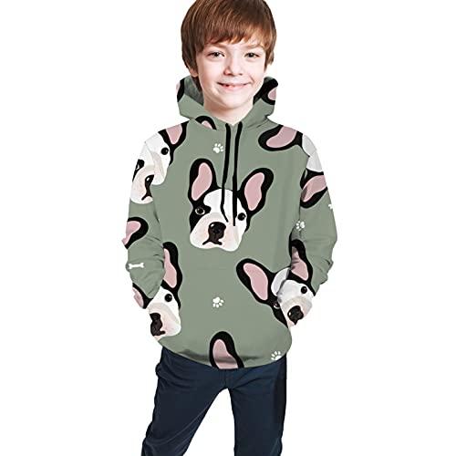 Hoodie Boys and Girls Sweatshirts, Cute Cartoon Puppies French Bulldog Sports Hoodies,Youth Hoodie Hooded L