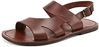 Summer Genuine Leather Sandals Cheap Beach Men Sandals Slippers Men Casual Sandals (Color : Brown, Size : 8.5-MUS)