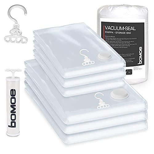 bomoe Vakuumbeutel für Kleidung - Vakuumier Set 6tlg. in 2 verschiedenen Größen + Pumpe - Vakuumierbeutel mit Haken zum Aufhängen - Kleidersack Vakuum Tüte wiederverwendbar - Knippa