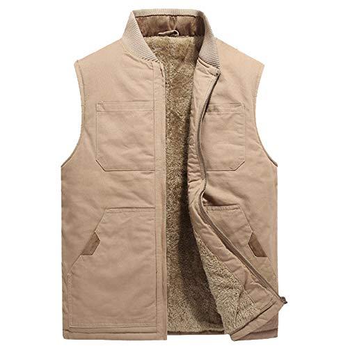 Hommes Coton Multi-Poches Gilet Épaissir Travail Gilet Casual Chaud Veste sans Manche Gilet d'hiver Plus La Taille 5XL-Kaki_XXXL