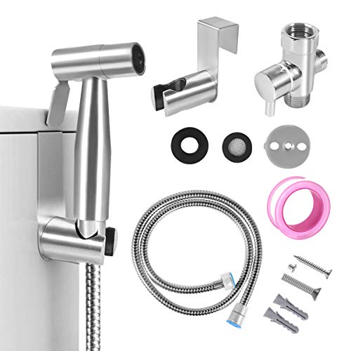 Handheld Bidet for Toilet, 2 Water Pressure Option, Toilet or Wall Mounted, Multi-function for Baby Cloth Diaper Sprayer, Shower Sprayer for Pet