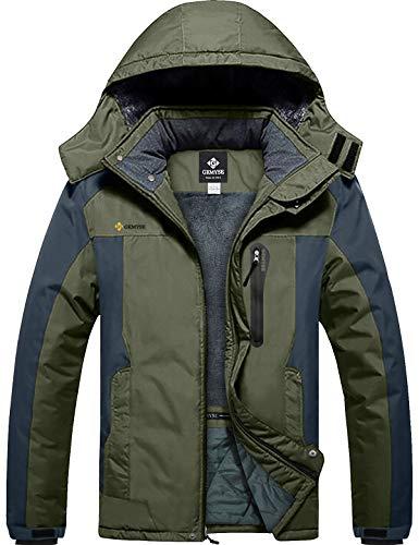 GEMYSE wasserdichte Skijacke für Herren Winddichte Fleece Outdoor-Winterjacke mit Kapuze (Armee grün grau,XL)