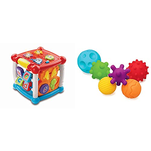 VTech Baby Turn and Learn Baby Activity Cube   Interactive Educational Toy with Shape Sorter   Suitable for Babies from 6 Months+ & Infantino Textured Multi Ball Set - Ages 6 Months And Up