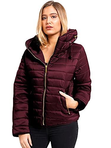 Love My Fashions® Parka de invierno para mujer con capucha acolchada y cuello de piel sintética -...