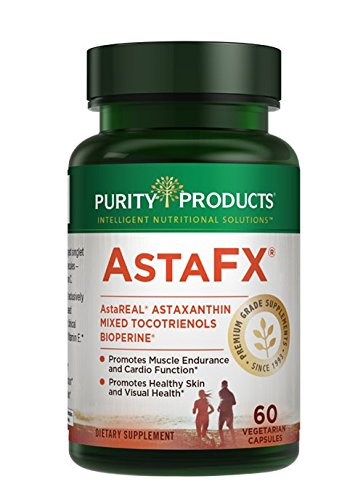 AstaFX Astaxanthin Antioxidant Super Formula from Purity Products - Clinically Tested 4 mg AstaREAL with Full Spectrum Tocotrienols (vitamin E) + BioPerine Black Pepper + Piperine - 60 Vegetarian Caps