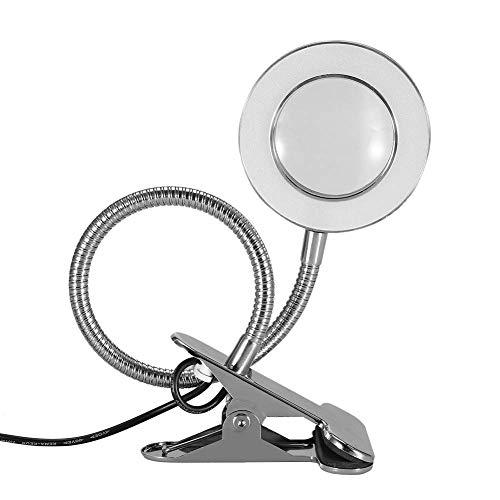 Lámpara de lupa portátil 2,5 x con clip, protección de ojos con conexión USB y cuello de cisne suave de 360 grados, para manicura, pestañas, aprendizaje, maquillaje, belleza, lectura