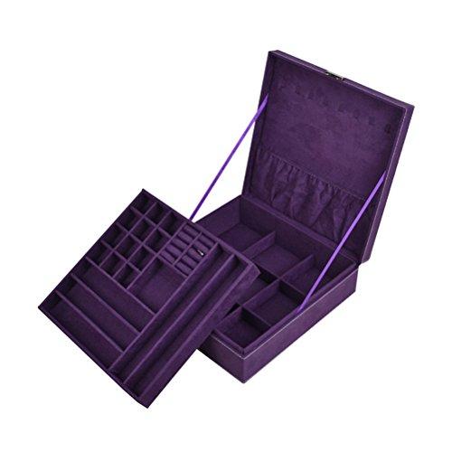 Joyero organizador de joyas, aretes, anillos, collares, pulseras, estuche de viaje portátil, decoración de casa, caja de almacenamiento para mujeres y niñas (morado)