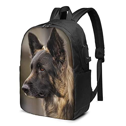 Mochila multifuncional para perro pastor, extra grande, de 17 pulgadas, con puerto de carga USB, mochila para ordenador portátil, para mujeres, hombres, universidad, Perro pastor (2), Talla única