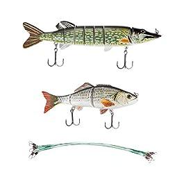 Zite Fishing Swimbait Kit d'appâts de pêche en plusieurs parties 15 + 20 cm Course réaliste Bas de ligne en acier inclus