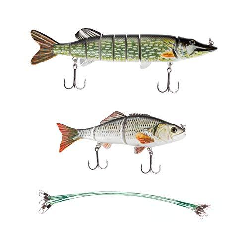 Zite Fishing Swimbait Angelköder-Set - Wobbler Mehrteilig 15 + 20cm - Realistischer Lauf - Stahlvorfächer Inklusive