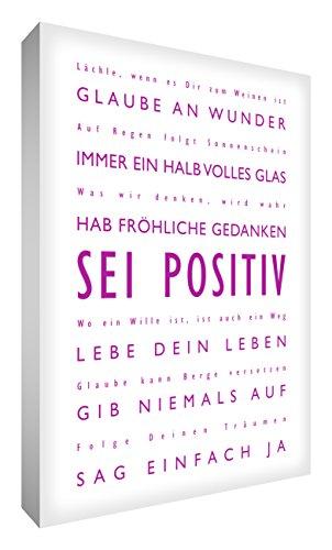 Little Helper BP2436-01G Feel Good Art - Quadro da parete, in tela resistente, con scritta in lingua tedesca in caratteri moderni, motivo: Sei Positiv