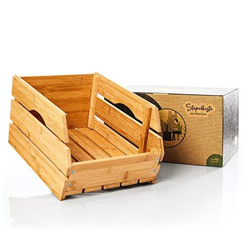 bambuswald© Stapelkiste 100% nachhaltigem Bambus - stapelbar : Gemüsekiste Obstkiste Aufbewahrungskiste Apfelkiste Weinkiste Vorratkiste Kartoffelkiste