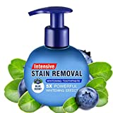 Intensive Stain Removal Whitening Toothpaste Baking Soda Fight Bleeding Gums Power Cleaning Fluoride-Free Natural Press Toothpaste(Blueberry)