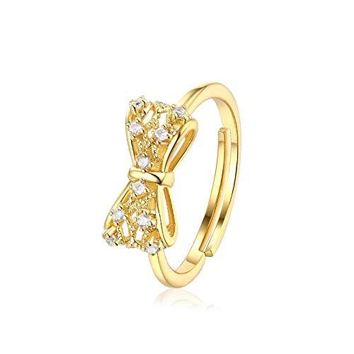 LYWZX Ringe Für Damen Ring Aus 925Er Sterlingsilber, Offener Ring, Einstellbare Größe, Einzigartiges Geschenk Für EIN Hochzeitsjubiläums-Verlobungsschmuckbogen-Zirkonring