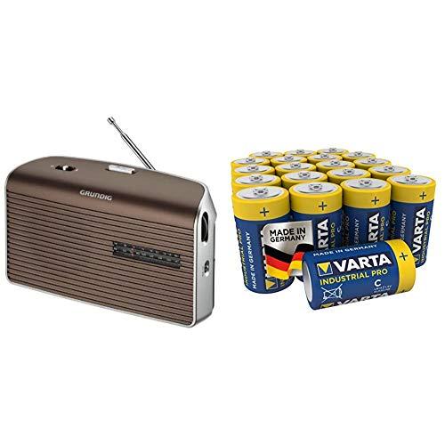 Gr&ig Music 60, empfangsstarkes Radio im modernen Design, Brown/Silver und Varta Industrial Pro Batterie C Baby Alkaline Batterien LR14 (20er Pack)