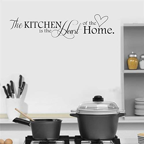 yiyiyaya The Kitchen is Heart of The Home Patrón de Letras Etiqueta de la Pared Restaurante extraíble Tatuajes de Pared Decoración de Pared de Vinilo Mural 56X14CM