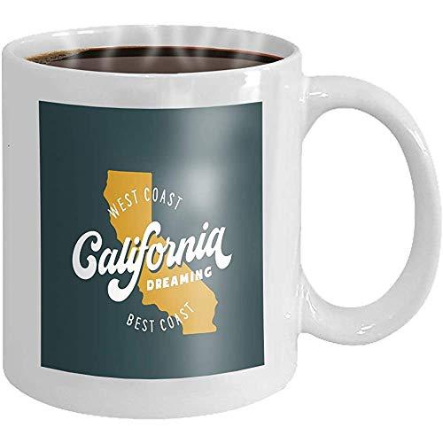 Kaffeebecher Kalifornien träumt verwandte Kleidungsdesign Vintage-Stil Neuheit Keramik Geschenke Teetasse