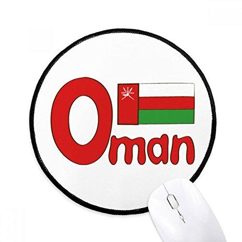 Oman Nationale Vlag Rood Groen Patroon Ronde Antislip Mousepads Zwart gestikte randen Game Office Gift