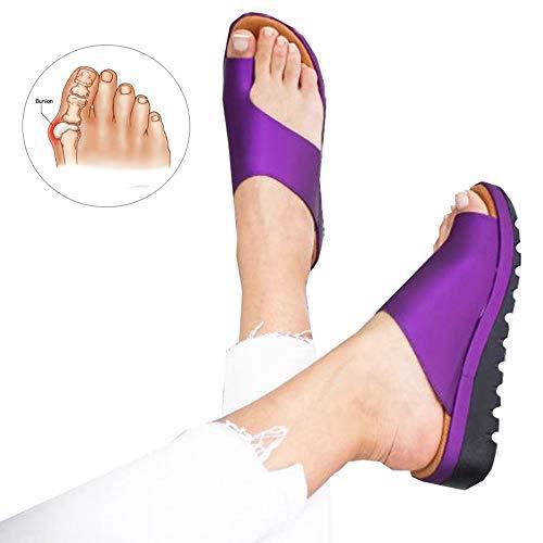 Bequeme Damen-Sandalen, bequem, modische Sandalen, orthopädische Sandalen, orthopädische Schuhe, Ballenzeh-Schiene, violett, 41