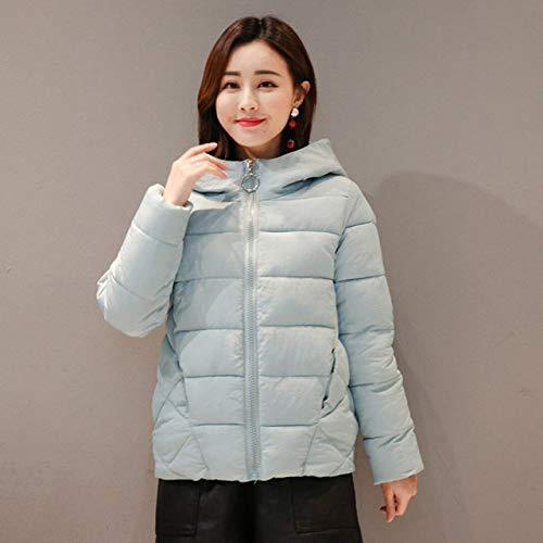 SMAWJD Daunenjacke 2019 New Winter Short Damen Jacke Größe 4XL 5XL 6XL 7XL Damen Kapuze Plus Size Cotton Daunenjacke Herbst, Hellblau, XXXL