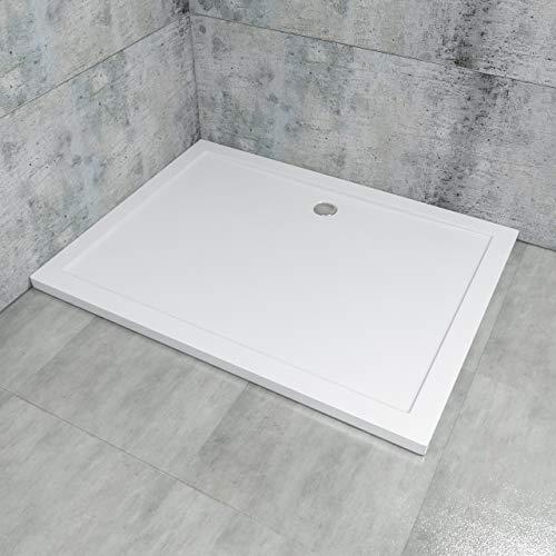 Duschtasse LDZ02-80120, Duschwanne 80x120x4cm, Rechteckwanne, Extraflach aus Acryl in Weiß, Rechteckig, DIN-Anschlüsse für bodenebene Montage geeignet, inklusive Ablauf