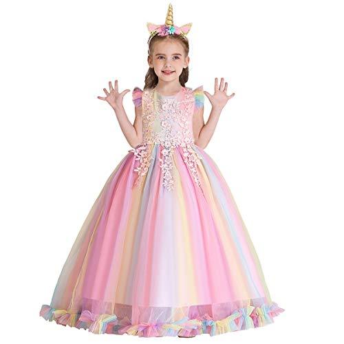 MYRISAM Niñas Disfraz de Halloween Princesa Vestido de Unicornio para Chicas Cumpleaños de...