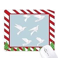 折り紙の幾何形状の抽象的なハト ゴムクリスマスキャンディマウスパッド