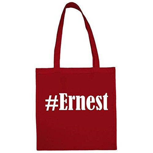 Tasche #Ernest Größe 38x42 Farbe Rot Druck Weiss