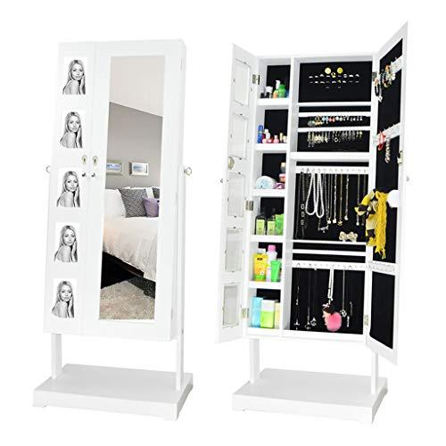 Even Sieradenkast met fotolijst, grote capaciteit, witte sieradenorganizer, spiegel sieradenkast