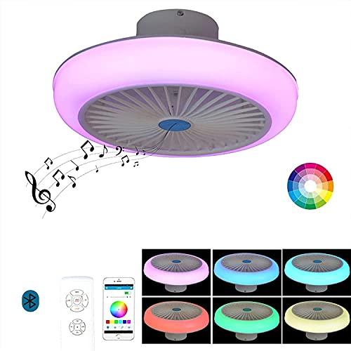 Plafón LED Techo Ventilador de Techo con Luz y Mando a Distancia Silencioso Infantil RGB Regulable Luz de Techo APP Lampara de Techo Música Altavoz Bluetooth Dormitorio Ventiladores Iluminación 72W