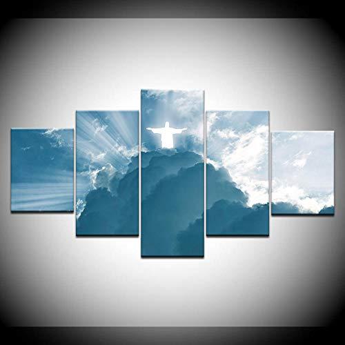 CGHBDOP poster kunstdruk 5 panelen Hd Print tweede komen Jezus Christus muurposters afdrukken canvas kunst schilderkunst in huis woonkamer decoratie