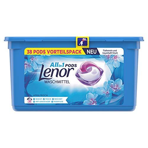 Lenor Waschmittel Pods All-in-1, 38 Waschladungen, Lenor Aprilfrisch mit Duft von Frühlingsblumen