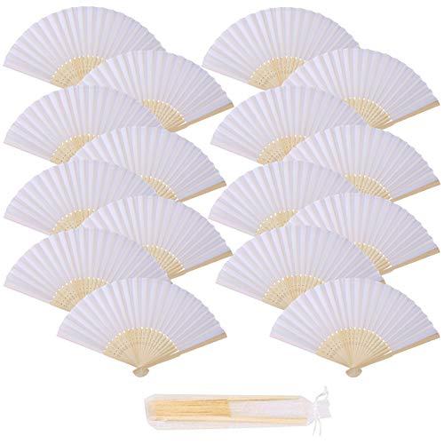 17 Piezas Abanico de tela Blanco de tela Plegable Ventilador Con Marco...