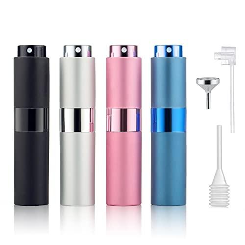 Taumie 4 Pcs Atomizador Perfume, 8ML Atomizador de Perfume Pulverizador, Spray de Perfume Portátil, Bomba Recargable Perfume Spray Frasco, Botella Vacío Pulverizador Viaje, con Embudo