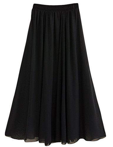 Donna Pieghettato Retro Maxi Gonna Lunga Elastica Solida Colore Gonna