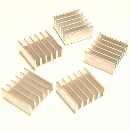 Easycargo 10 unidades de 15 mm disipador de calor 15 x 15 x 6,5 mm + 3M 8810 preaplicado cinta adhesiva conductora térmica para enfriar chips GPU VRAM VGA RAM (10 unidades 15 x 15 x 6,6 mm plateado)