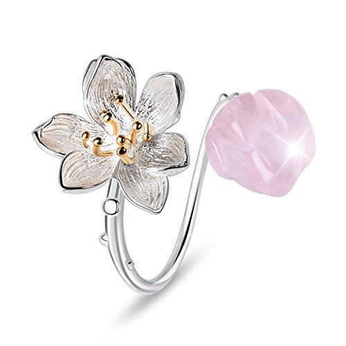 ♥ Regalo para Navidad♥ JIANGYUYAN S925 Anillos de flores de plata esterlina Lotus Whispers Anillo abierto Joyería hecha a mano Regalo para mujeres y niñas(Pink)