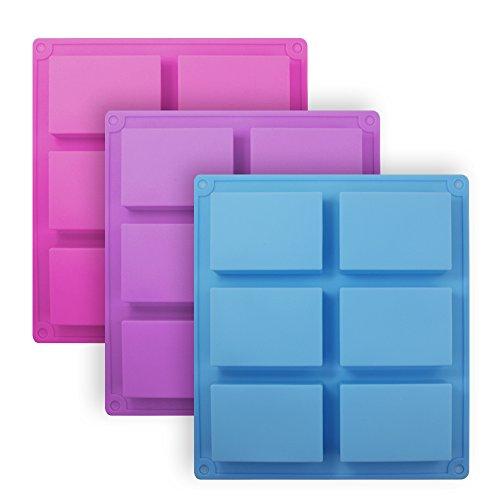 Senhai Silikonformen, rechteckig, 6 Mulden, Kuchenbackform, Keks, Schokolade, Eiswürfel, Seifenschalen – Rosa, Blau, Violett, 3 Stück