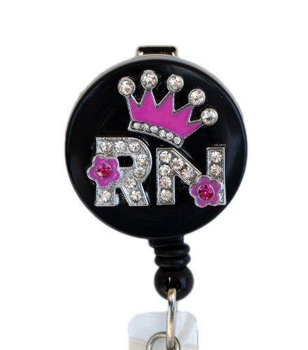 3D Pink Crown RN Logo Nurse Rhinestone Retractable Badge Reel/ID Badge Holder