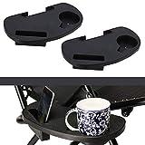 SUNMER Mesas laterales con clip, bandeja para teléfono y soporte para tazas, fácil de enganchar, adecuado para tumbonas, sillas de camping, sillas de pesca y muchos más, paquete de 2