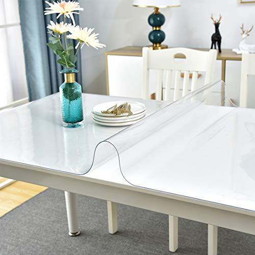 Facecozy - Protector de mesa grueso y transparente para mesa de escritorio, cubierta de vinilo de plástico, protector de mesa de PVC para mesa de café, escritorio de cocina (31.5 x 47 pulgadas, transparente 1.3 mm)