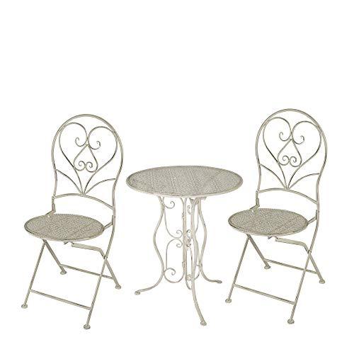 MC Gartentisch Rund mit 2 Stühlen Metall Cream Set
